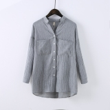 Buy Women S Flax Mid Long Long Sleeve Shirt Gray Gray China