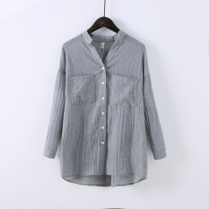 Compare Price Women S Flax Mid Long Long Sleeve Shirt Gray Gray Oem On China