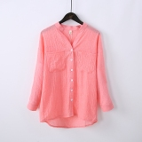 Women S Flax Mid Long Long Sleeve Shirt Pink Pink Deal