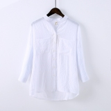 Top Rated Women S Flax Mid Long Long Sleeve Shirt White White