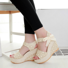 Price Comparisons Slope With Student Gel Toe Heavy Bottomed Muffin Lace Woven Sandals Bandage Paragraph Gold