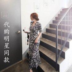 2016 Summer Women S New Korean Fashion Floral Wrap Dress High Waist Print Dress Resort Beach Dress Dark Blue Deal