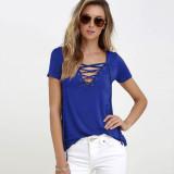 Buy 2016 Zanzea New Fashion Women Blouses Summer Blusas S*xy Bandage Deep V Neck Short Sleeve Strech Shirts Solid Tops Plus Size Blue Intl Zanzea Cheap