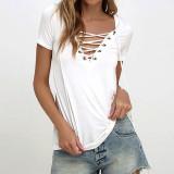 Sale 2016 Zanzea New Fashion Women Blouses Summer Blusas S*xy Bandage Deep V Neck Short Sleeve Strech Shirts Solid Tops Plus Size Off White Intl