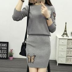 Price Korean Style Knitted Sheath Spring And Autumn Spring New Style Dress Dress Outfit Gray Oem China