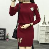 The Cheapest Korean Style Knitted Sheath Spring Dress Dress Outfit Wine Red Color Online