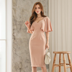 Sales Price 2017 Autumn Dress New Style Female Korean Style Fashion S*Xy V Neck Halter Cape Style Lotus Leaf Sleeves Slim Fit Package Hip Dress