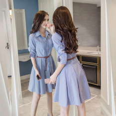 Discounted Women S Korean Style A Line Long Sleeve Dress Blue White Striped
