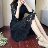 Top Rated Korean Style Spring Three Quarter Length Sleeve Mid Length Base Skirt Dress Black