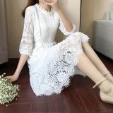 Sale Korean Style Spring Three Quarter Length Sleeve Mid Length Base Skirt Dress White Oem