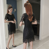 Discount Women S Korean Style Slim Fit Mid Length Lace Dress Black Black Oem On China