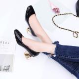 Discount Korean Style Metal Spring New Style Block Heel Pumps Black