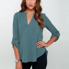 Sale 2017 Best Quality New Summer Women V Neck Folds Long Sleeve Casual Chiffon Blouse Tops S Light Blue Intl On China