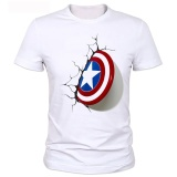 Best 2017 Captain America 3D Shield T Shirt New Men Cool Originality Popular Brand Good Quality Comfortable Tee Tops White Intl