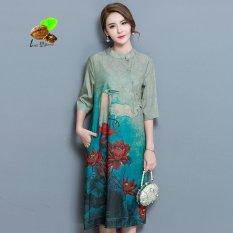Cheap 2017 Chinese Style Elegant Loose Medium Long Print Chiffon Stand Collar Chiffon One Piece Dress Women Retro Qipao Cheongsam Intl Online