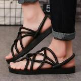 Sale 2017 Couple Men Hollow Sneakers Beach Sandals Size37 44 Slip On Loafer Slipper Open Toed Flat Female Sandals Shoes Black Intl Ningmeng