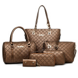 Buy Women S Minimalist Stylist 6 Piece Bags Brown Plaid Brown Plaid Oem Cheap