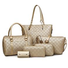 Sale Women S Minimalist Stylist 6 Piece Bags Gold Plaid Gold Plaid Oem Original