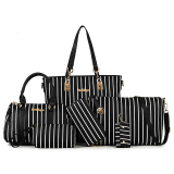 Compare Women S Minimalist Stylist 6 Piece Bags Stripe Black Stripe Black Prices
