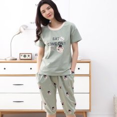 Review Korean Style Cotton Female Can Be Suit Pajamas Light Army Green On China