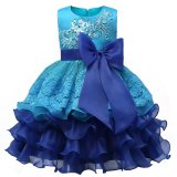 Price 2017 Formal Evening Gown Flower Wedding Princess Dress Girls Children Clothing Kids Dresses For G*rl Clothes Tutu Party Dress Blue Intl Oem New