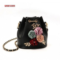 Price 2017 Handmade Flowers Bucket Bags Mini Shoulder Bags With Chain Drawstring Small Cross Body Bags Pearl Bags Black Intl Oem China