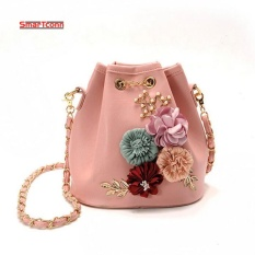 Retail Price 2017 Handmade Flowers Bucket Bags Mini Shoulder Bags With Chain Drawstring Small Cross Body Bags Pearl Bags Intl