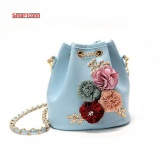 Get Cheap 2017 Handmade Flowers Bucket Bags Mini Shoulder Bags With Chain Drawstring Small Cross Body Bags Pearl Bags Intl