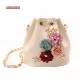 Sales Price 2017 Handmade Flowers Bucket Bags Mini Shoulder Bags With Chain Drawstring Small Cross Body Bags Pearl Bags Intl