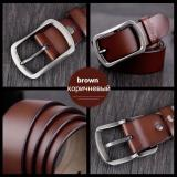 Review 2017 High Quality Cowhide Genuine Leather Belts For Men Brand Male Strap Pin Buckle Fancy Vintage Jeans Brown China