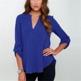 2017 High Quality New Summer Women V Neck Folds Long Sleeve Casual Chiffon Blouse Tops S Dark Blue Coupon