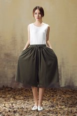 Buy Japanese Style Plus Sized Loose Linen Wide Leg Pants Army Green Online China
