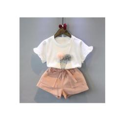 Sale 2017 Korean Baby Kids Girls Clothes Set Children T Shirt Shorts 2Pieces Cotton Suits(White) Intl No Brand Wholesaler