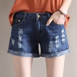 Latest 2017 Korean Fashion Girls Student Women Ripped Summer Binding Stretchy Hot Denim Shorts Short Pants Dark Blue Intl