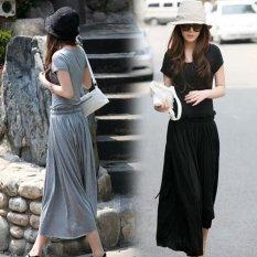 Korean Modal Spring Summer Round Neck Short Sleeves Loose Long Dress Light Gray Light Gray Promo Code
