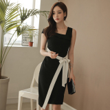 Women S Korean Style Slim Fit Off Shoulder Sleeveless Lace Dress Coupon