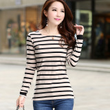 Discounted Loose Korean Style Cotton Striped Round Neck T Shirt Long Sleeved Shirt Bottoming Gray Apricot Stripes Gray Apricot Stripes
