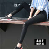 Price Korean Style Black Female Outerwear Pants Leggings The Rich Satin Black Multi Holes Online China
