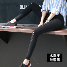 Lowest Price Korean Style Black Female Outerwear Pants Leggings The Rich Satin Black Multi Holes
