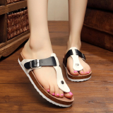Compare Lovely Cat Couple S Korean Style Flip Flop Cork Slippers Black And White Mixed Colors Sandals Black And White Mixed Colors Sandals