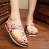 Review Lovely Cat Couple S Korean Style Flip Flop Cork Slippers Red Rose Flower Sandals Red Rose Flower Sandals Oem On Singapore
