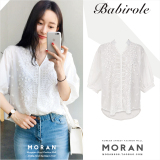 Korean Style Embroidered Summer Porous Top White Shirt China