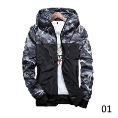 2017 Men's Fashion Camouflage Coat Hoodies Casual Jacket Clothing Windbreaker Male Outwear M-5XL Black