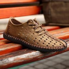 Discount 2017 New Arrival Genuine Leather Luxury Brand Summer Men Casual Shoes High Quality Breathable Holes Intl Oem