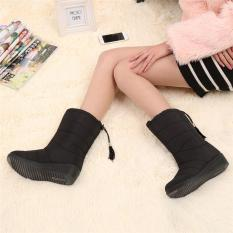 Low Price 2017 New Arrival Winter Women Snow Boots Fashion Medium Tube Slope With Warm Plus Velvet Boots Waterproof Anti Slip With Tassels 35 Black Intl