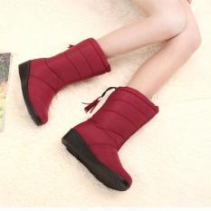 Sale 2017 New Arrival Winter Women Snow Boots Fashion Medium Tube Slope With Warm Plus Velvet Boots Waterproof Anti Slip With Tassels 35 Wine Red Oem Branded
