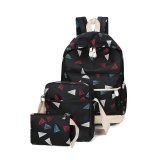 Coupon 2017 New Canvas Sch**l Bags For Teenagers Backpack Women Three Piece Suit Shoulder Bags 3 Pcs Set Rucksack Mochila Knapsack Black Intl