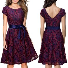 Buy 2017 New Dress S*xy Lace A Line Prom Gown O Neck Short Sleeve Patchwork Backless Knee Length Short Dress Red Color Intl Hong Kong Sar China