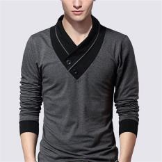 Sale 2017 New Fashion Brand Irregular Collar Slim Fit Long Sleeve T Shirt Men Casual M Gray Intl China Cheap