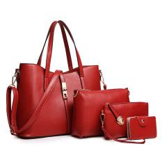 Cheap Ladies Europe Fashion Leather Hadbag Red Wine Online